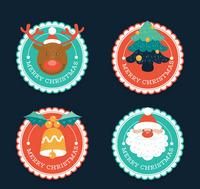 4款圆形圣诞节标签矢量素材