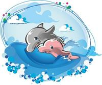 可爱手绘海豚