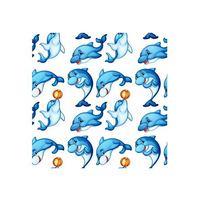 蓝色卡通海豚
