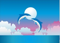 矢量跃起的海豚素材