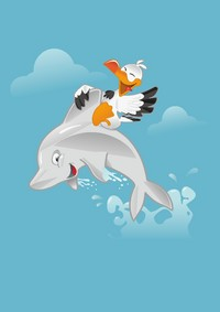 矢量海豚和鸟素材