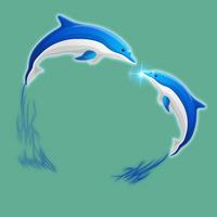 两只蓝色海豚设计元素