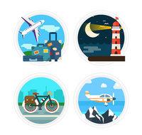 4款圆形旅行标签矢量图