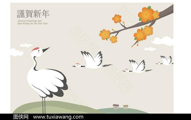 丹顶鹤 古风素材 白鹤 仙鹤 保护动物 珍稀动物 设计元素 动物素材