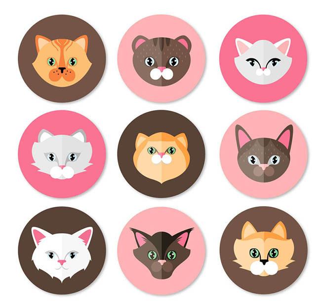圆形猫咪头像矢量素材 9款圆形猫咪头像矢量图下载 猫 宠物 动物 圆形