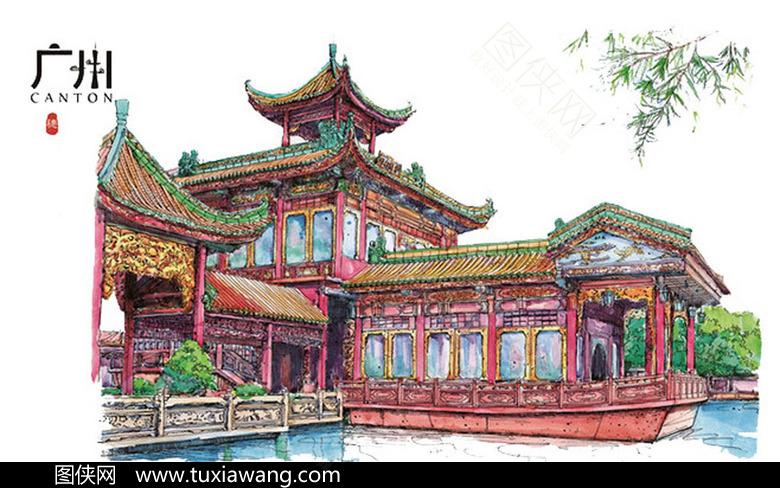 手绘建筑中式园林