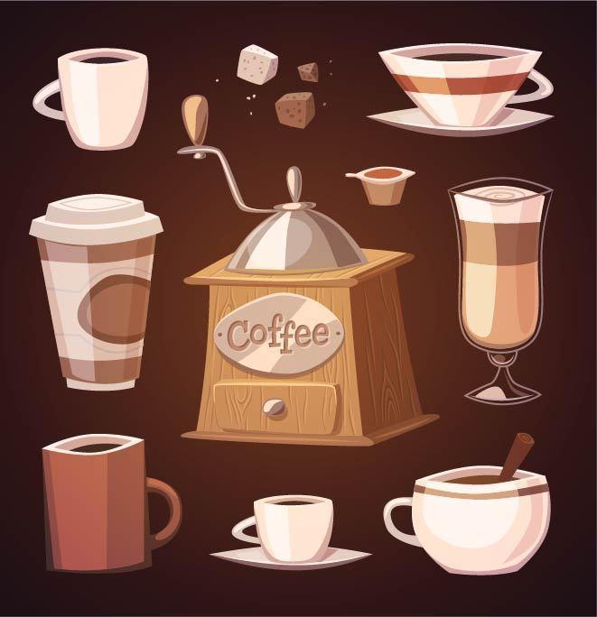 手绘咖啡和咖啡机