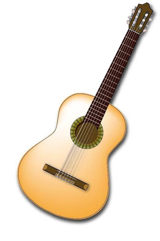 手绘木吉他素材