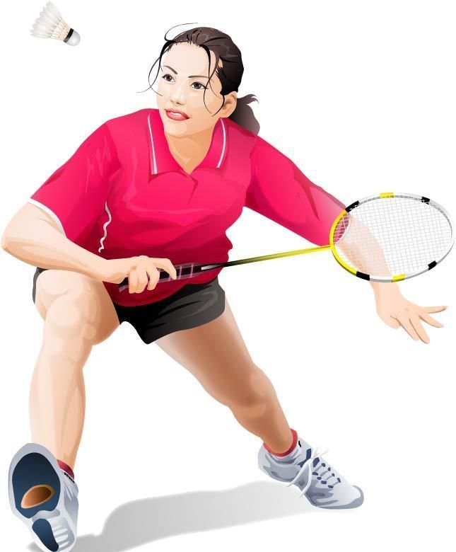 羽毛球运动员插画素材