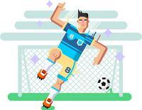 手绘足球运动员和球门