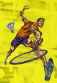 创意羽毛球运动员