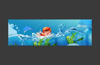 卡通儿童游泳banner背景模板