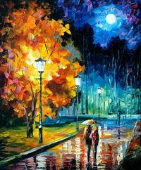 精美公园夜景油画