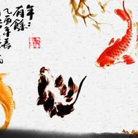 水墨白色莲花锦鲤无框画2