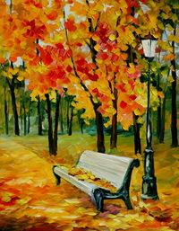 精美公园长椅油画