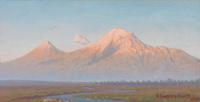 雪山山下风景油画