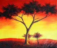 夕阳下的大树无框画