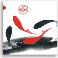 水墨锦鲤无框画1