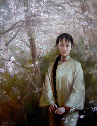 花树下的少女无框画