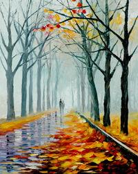 精美林间散步油画
