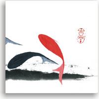 水墨锦鲤无框画2