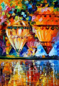 热气球油画