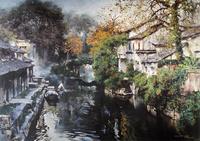 精美的水乡油画无框画