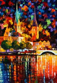 精美城堡油画