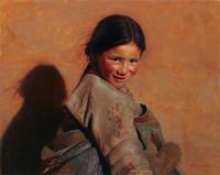 阳光下的藏族女孩无框画