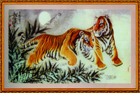 两只老虎中堂画