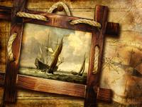 复古大船航行画框装饰画1
