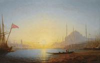 夕阳下的码头家居装饰画