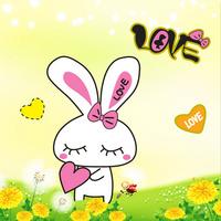 鲜花卡通兔子装饰画