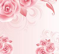 卡通粉色鲜艳花朵装饰画