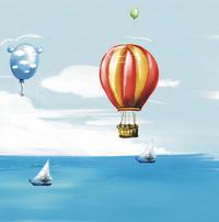 卡通可爱热气球装饰画