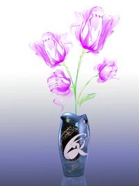 古典瓷瓶手绘花卉装饰画