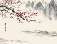水墨梅花山峰装饰画