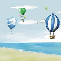 卡通大海热气球装饰画