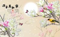 卡通可爱时尚花朵小鸟精美装饰画