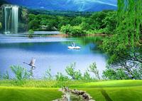 山水湖面风景装饰画
