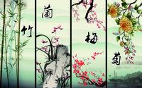 水墨画梅兰竹菊装饰画