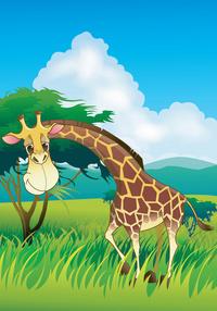 卡通长颈鹿装饰画