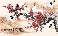 水墨梅花仙鹤装饰画