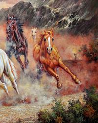 油彩骏马装饰画2