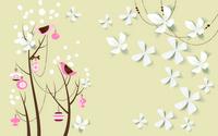 卡通花朵树木装饰画