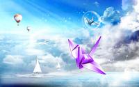 蓝天热气球纸鹤装饰画
