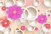 红紫卡通花朵装饰画