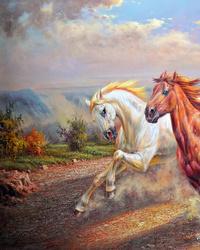 油彩骏马装饰画
