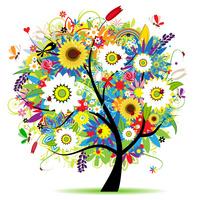 彩色绚丽精美大树装饰画