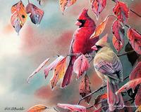 复古小鸟客厅装饰画